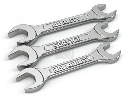 Photo pour Clé, clés à molette. Concept de service, de qualité et de réabilité. 3d - image libre de droit