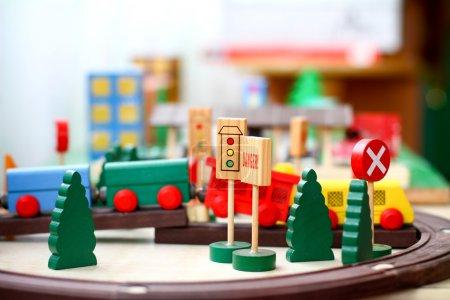 Wooden toys closeup