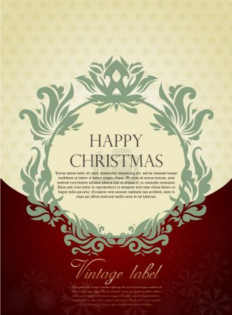 Illustration for Gold Christmas greeting card in vitage style - Royalty Free Image