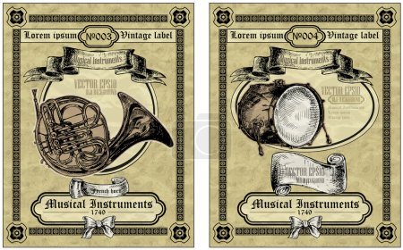 Set vintage card classical instruments