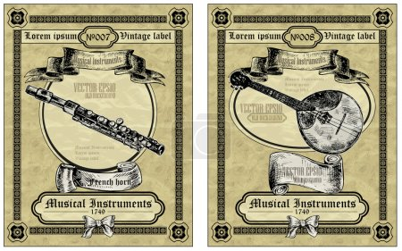 Vintage card classical instruments.