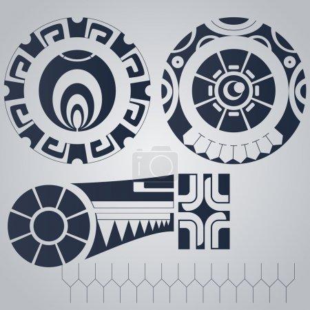 Illustration pour Eléments polynésiens tatouage style - image libre de droit