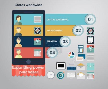 Illustration pour Un ensemble de plates icônes concept de conception pour les services Web et la téléphonie mobile et des applications. icônes pour le marketing mobile, email marketing, le marketing vidéo et du marketing digital. - image libre de droit
