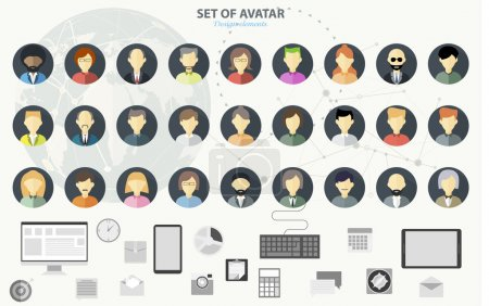 Illustration for Set of avatar flat design icons. Flat design concept for social network. Concepts for web banners and printed materials. - Royalty Free Image