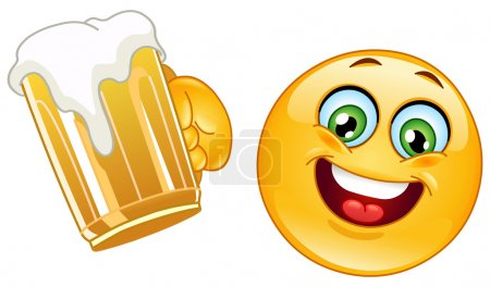 Illustration for Emoticon cheering with a mug of beer - Royalty Free Image