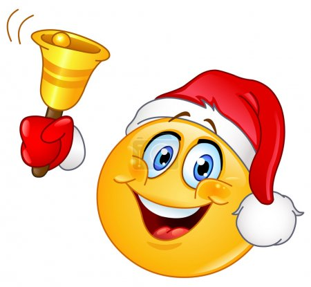 Illustration for Emoticon with Santa hat ringing Christmas bell - Royalty Free Image