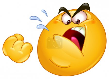Illustration for Emoticon threatens with a fist - Royalty Free Image