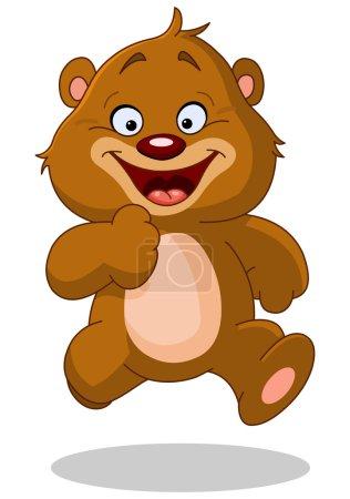 Illustration pour Joyeux ours en peluche courir - image libre de droit