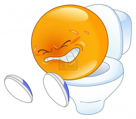 Illustration for Pooping on pot yellow emoticon - Royalty Free Image