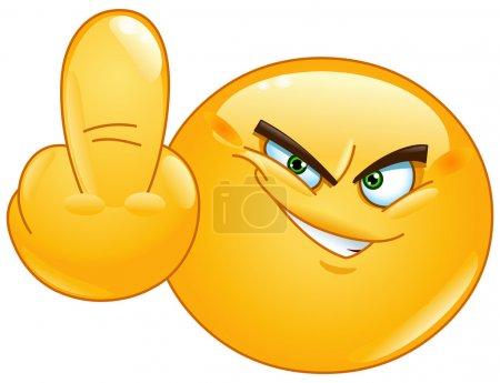 Illustration for Emoticon showing middle finger - Royalty Free Image