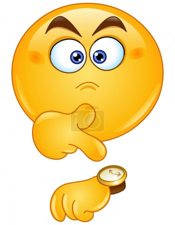 Pointing at watch emoticon