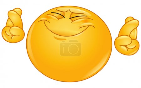 Illustration for Emoticon hoping hard with crossed fingers - Royalty Free Image