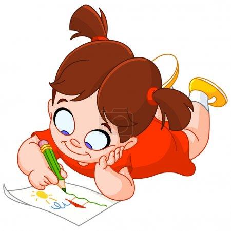 Illustration pour Petite fille allongée sur le ventre et faisant un dessin sur un papier - image libre de droit