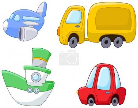 Illustration pour Ensemble de dessin animé avion de transport, camion, navire et voiture - image libre de droit
