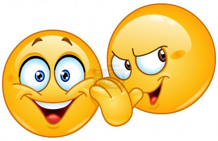 Illustration for Emoticon telling a secret to another emoticon - Royalty Free Image