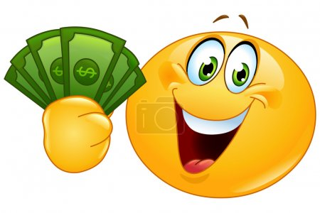 Illustration for Happy emoticon holding dollar bills - Royalty Free Image