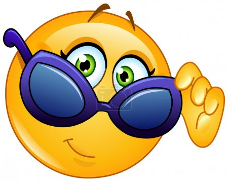 Illustration for Female emoticon looking over sunglasses - Royalty Free Image