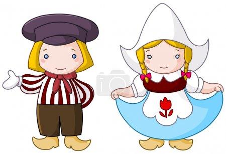Illustration pour Traditionnel néerlandais couple dessin animé - image libre de droit