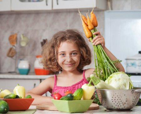 Girl preparing healthy food