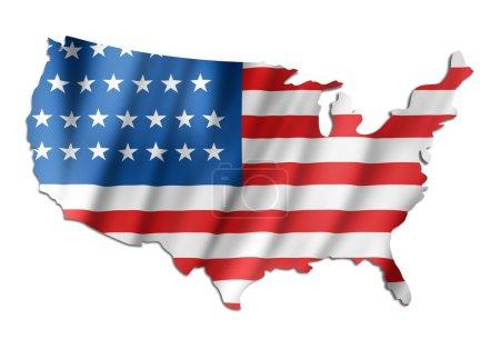 Photo pour Drapeau américain sur une carte des usa - image libre de droit