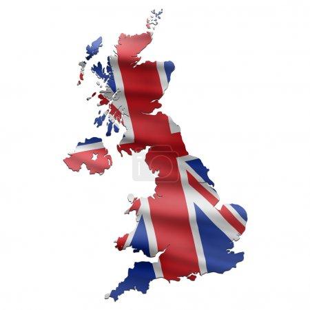 Photo pour Carte du Royaume-Uni avec drapeau britannique - image libre de droit