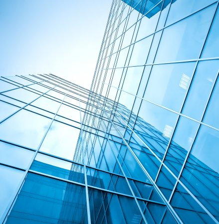 Photo for Blue glass high-rise corporate building - Royalty Free Image