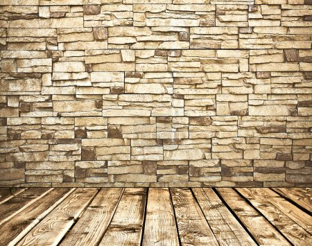 Photo for Room with stone grunge wall and wooden weathered floor, texture of brick wall - Royalty Free Image