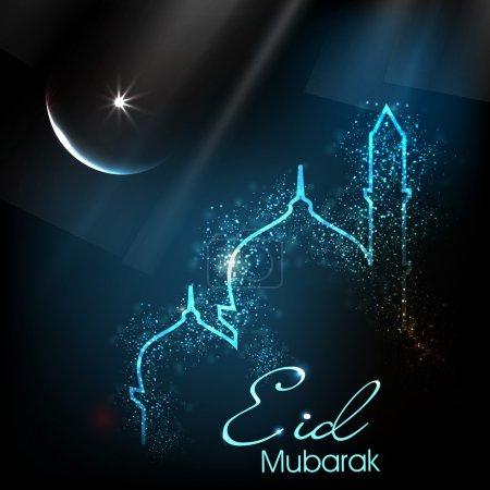 Foto de Hermosa tarjeta de felicitación para eid festival de mubarak con brillante imagen mezquita y masjid. EPS 10 - Imagen libre de derechos