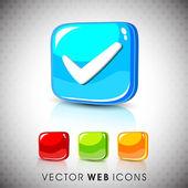 Glossy 3D web 20 check mark validation symbol icon set EPS 10