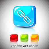 Glossy 3D web 20 link or connect symbol icon set EPS 10