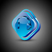 Glossy web 20 music icon with headset symbol EPS 10