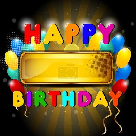 Illustration pour Ballon brillant coloré et fond de cadeaux avec signe de dessin animé joyeux anniversaire. SPE 10 . - image libre de droit