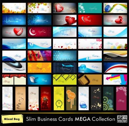 Illustration pour Mega collection de 52 cartes de visite professionnelles et de créateurs ou cartes de visite sur différents sujets, organiser en horizontal et vertical. SPE 10 . - image libre de droit