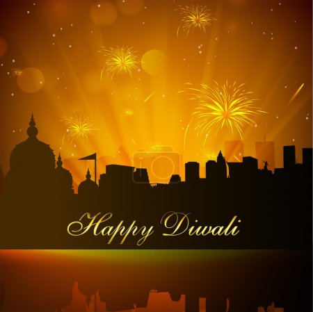 Beautiful Diwali background in urban city with fir...