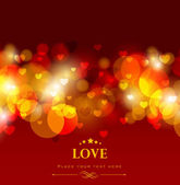 Shiny love background with red hearts greeting or gift card for