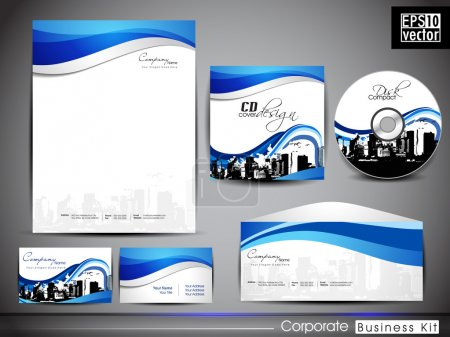 Illustration for Professional Corporate Identity kit or business kit for your business. includes CD Cover, Envelope, Business Card and Letter Head Designs. EPS 10. - Royalty Free Image