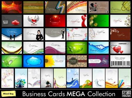 Illustration pour Mega collection de 40 cartes de visite professionnelles et concepteur abstraites ou cartes de visite sur un sujet différent, organiser en horizontle et verticale. EPS 10. - image libre de droit