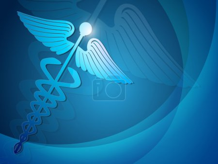 Abstract medical background with 3D caduceus medical symbol. EPS