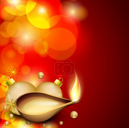Illustration for Greeting card for Diwali celebration in India. EPS 10. - Royalty Free Image