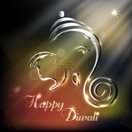 Creative shiny illustration of Hindu Lord Ganesha. EPS 10.