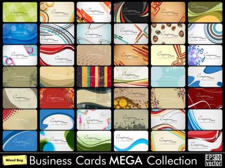 Illustration pour Mega collection de 42 cartes de visite professionnelles et concepteur abstraites ou cartes de visite sur un sujet différent, arranger dans horizontle. EPS 10. - image libre de droit