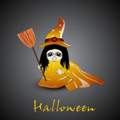 Little witch with broom stick and hat on grey background for Hal