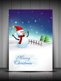 Happy snowman wearing Santa hat and scarf and Xmas trees for Merry Christmas greeting card gift card or invitation card EPS 10