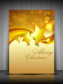 Merry Christmas greeting card gift card and invitation card with Xmas stars on snowflakes wave background EPS 10