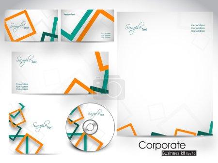 Illustration pour Trousse d'identité professionnelle ou trousse d'affaires pour votre entreprise comprend une couverture de CD, une carte de visite, une enveloppe et des dessins d'en-tête de lettre. SPE 10 . - image libre de droit
