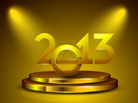 Stylized golden 2013 on stage, New Year celebration background.