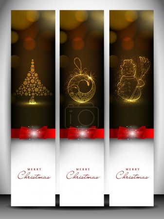 Merry Christmas website header and banner with Xmas tree, snowma