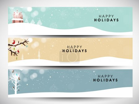 Happy holidays website headers or banners. EPS 10.