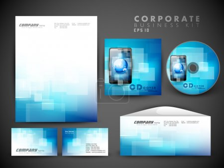 Illustration for Professional corporate identity kit or business kit for your business includes CD Cover, Business Card, Envelope and Letter Head Designs in EPS 10 format. - Royalty Free Image