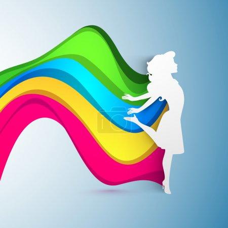 Illustration pour Happy Women's Day carte de vœux ou fond sur fond de vague coloré. SPE 10 . - image libre de droit